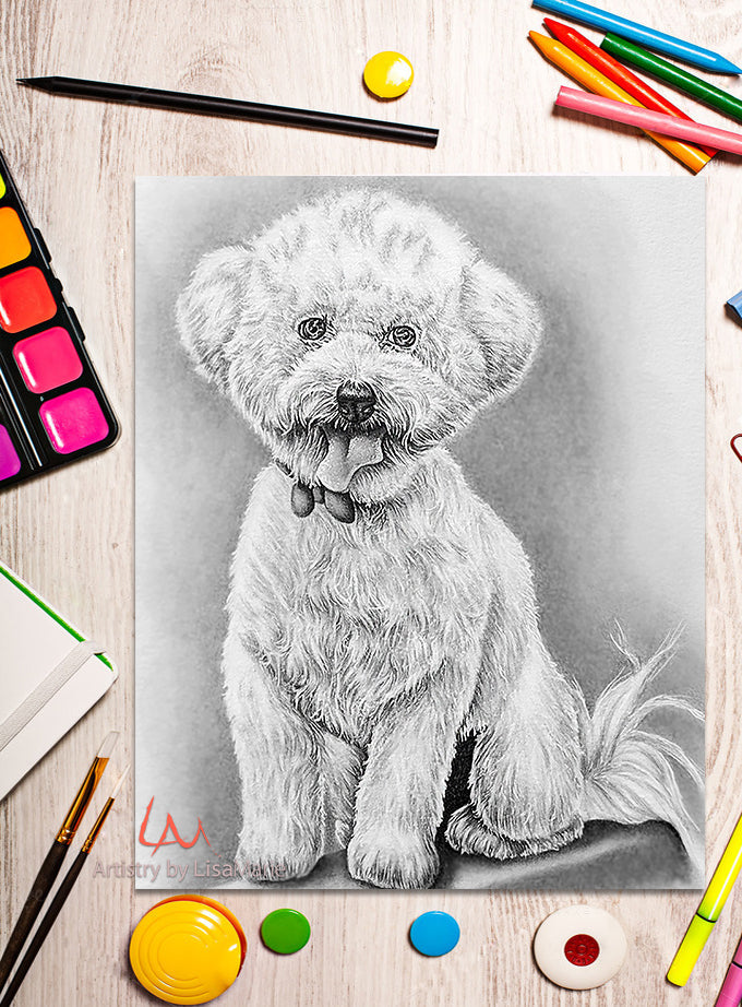 Printable Coloring Page: Bichon Frise In Grayscale