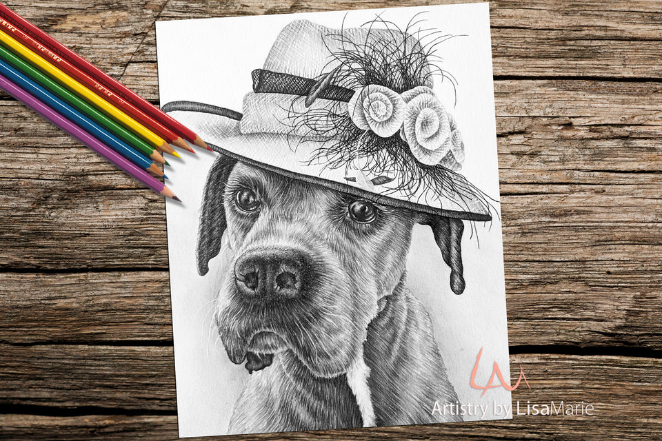 Printable Coloring Page: Boxer in Fancy Hat in Grayscale, , ArtistrybyLisaMarie