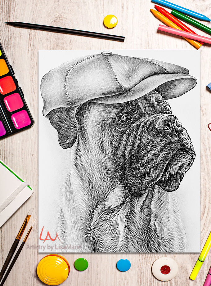 Printable Coloring Page: Boxer in Cap in Grayscale, , ArtistrybyLisaMarie
