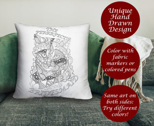 Coloring Throw Pillow: Perfect Bridesmaid, Cat #2, , ArtistrybyLisaMarie