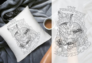 Coloring Throw Pillow: Perfect Bridesmaid, Cat #2