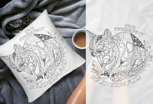 Coloring Throw Pillow: Perfect Bridesmaid, Cat #3