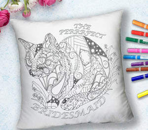 Coloring Throw Pillow: Perfect Bridesmaid, Cat #3, , ArtistrybyLisaMarie