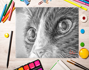 Printable Coloring Page: Cat Close Up in Grayscale, , ArtistrybyLisaMarie