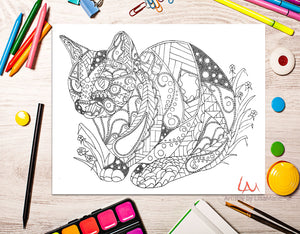 Printable Coloring Page: Zendoodle of Cat and Flowers, , ArtistrybyLisaMarie