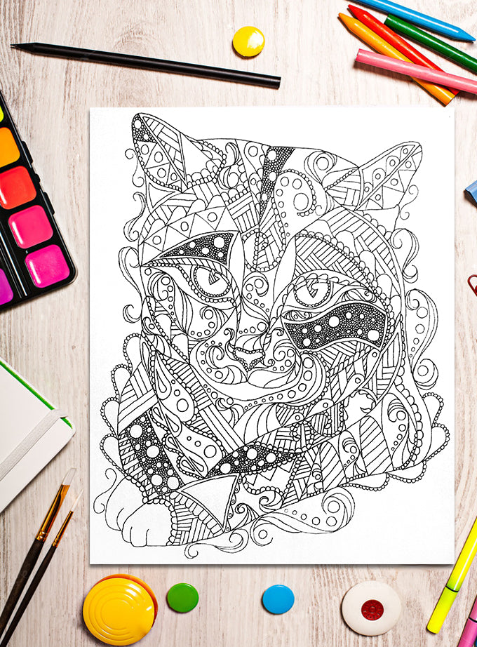 Printable Coloring Page: Zendoodle of Tabby Cat