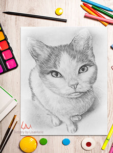 Printable Coloring Page: Cat Sitting in Grayscale