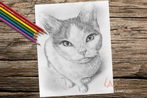 Printable Coloring Page: Cat Sitting in Grayscale, , ArtistrybyLisaMarie