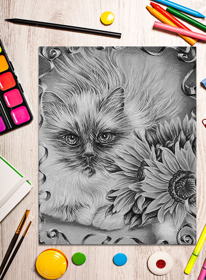 Printable Coloring Page: Cat with Sunflowers in Grayscale