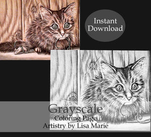 Printable Coloring Page: Cat With String and Mouse in Grayscale, , ArtistrybyLisaMarie