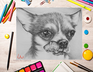 Printable Coloring Page: Chihuahua in Grayscale