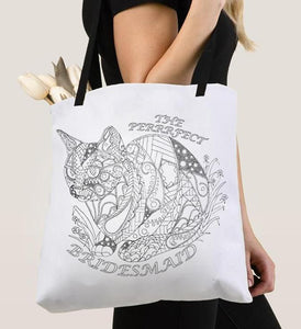 Coloring Tote Bag: The Perfect Bridesmaid, Cat with Flowers, , ArtistrybyLisaMarie
