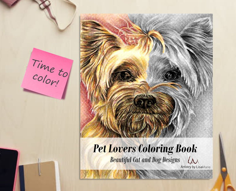 Adult Coloring Book - Pet Lovers Coloring Book: Beautiful Grayscale Dogs and Cats