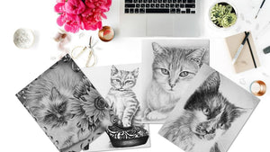 Adult Coloring Pages - Set of Coloring Sheets with Grayscale Cats, Set #2, , ArtistrybyLisaMarie