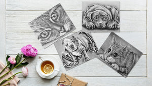 Adult Coloring Pages - Set of Coloring Sheets with Grayscale Dogs and Cats, Set #5, , ArtistrybyLisaMarie