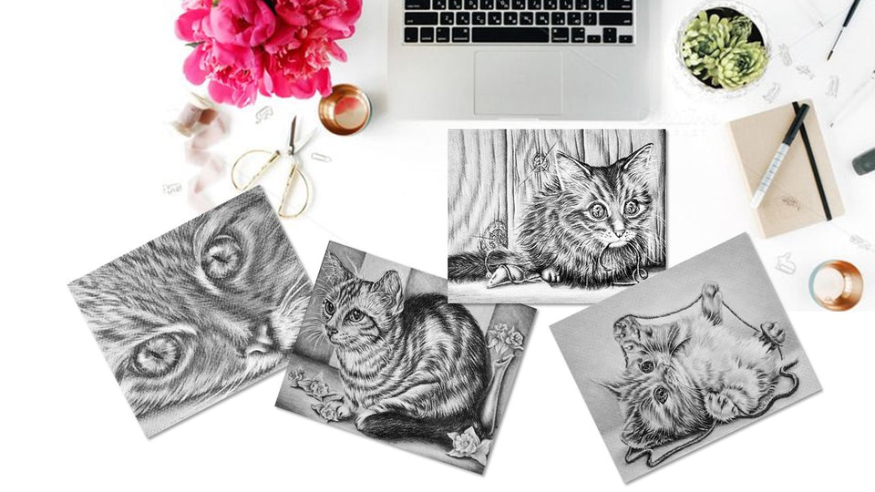 Adult Coloring Pages - Set of Coloring Sheets with Grayscale Cats, Set #7, , ArtistrybyLisaMarie