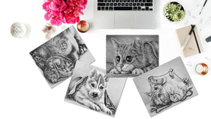 Adult Coloring Pages - Set of Coloring Sheets, Grayscale Dogs and Cats, Set #8, , ArtistrybyLisaMarie