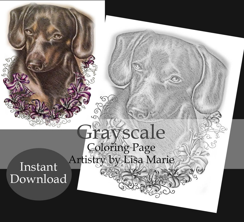 Printable Coloring Page: Dachshund With Lilies in Grayscale, , ArtistrybyLisaMarie