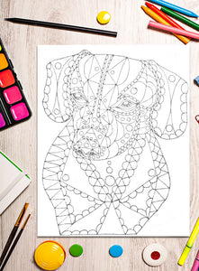 Printable Coloring Page: Zendoodle of Dachshund, , ArtistrybyLisaMarie