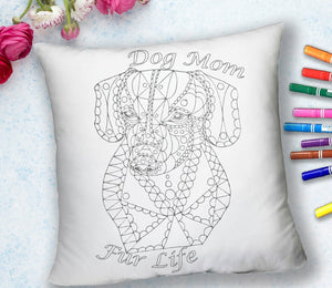 COLORING THROW PILLOW: Dog Mom Fur Life, Dachshund, , ArtistrybyLisaMarie