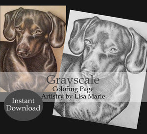 Printable Coloring Page: Dachshund In Grayscale, , ArtistrybyLisaMarie