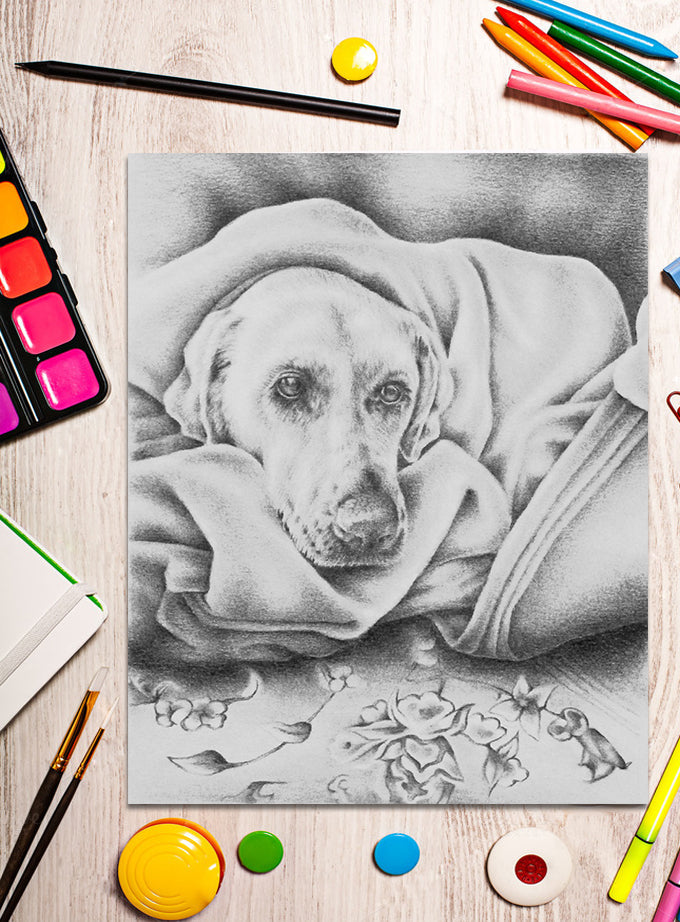 Printable Coloring Page: Dog in Blanket in Grayscale