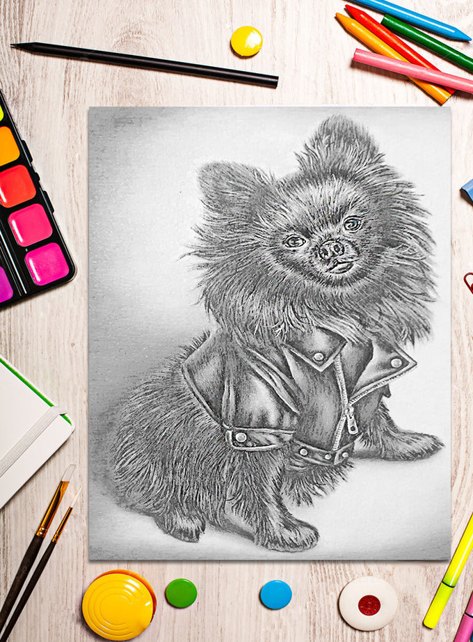 Printable Coloring Page: Cute Dog in Grayscale