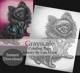 Printable Coloring Page: Cute Dog in Grayscale, , ArtistrybyLisaMarie