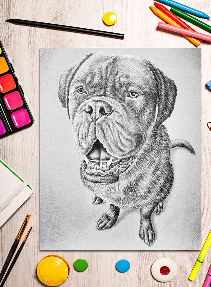 Printable Coloring Page: Mastiff Dog in Grayscale