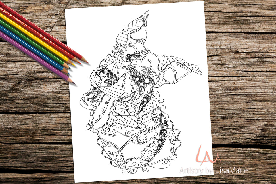 Adult Coloring Pages - Set of Coloring Sheets with Zendoodle Animals, Set #29, , ArtistrybyLisaMarie