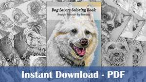 Printable Coloring Book - Dog Lovers Coloring Book of Grayscale Dogs, , ArtistrybyLisaMarie