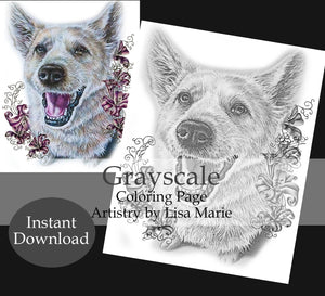 Printable Coloring Page: Dog Sitting in Grayscale, , ArtistrybyLisaMarie