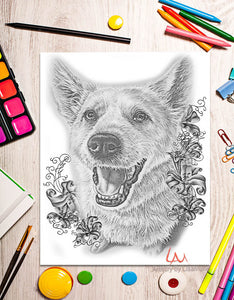 Printable Coloring Page: Dog Sitting in Grayscale