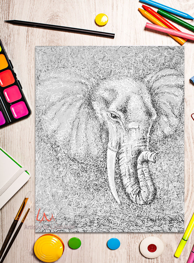 Printable Coloring Page: Elephant