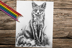 Adult Coloring Pages - Set of Two Coloring Sheets with Grayscale Fox Art, Set #5