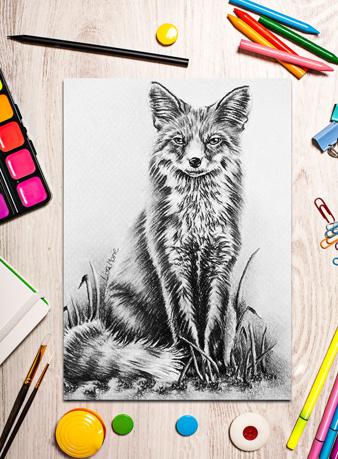 Printable Coloring Page: Fox Sitting In Grayscale