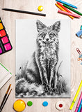Printable Coloring Page: Fox Sitting In Grayscale, , ArtistrybyLisaMarie