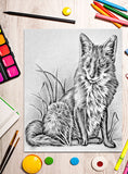 Printable Coloring Page: Fox In Grayscale