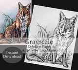 Printable Coloring Page: Fox In Grayscale, , ArtistrybyLisaMarie