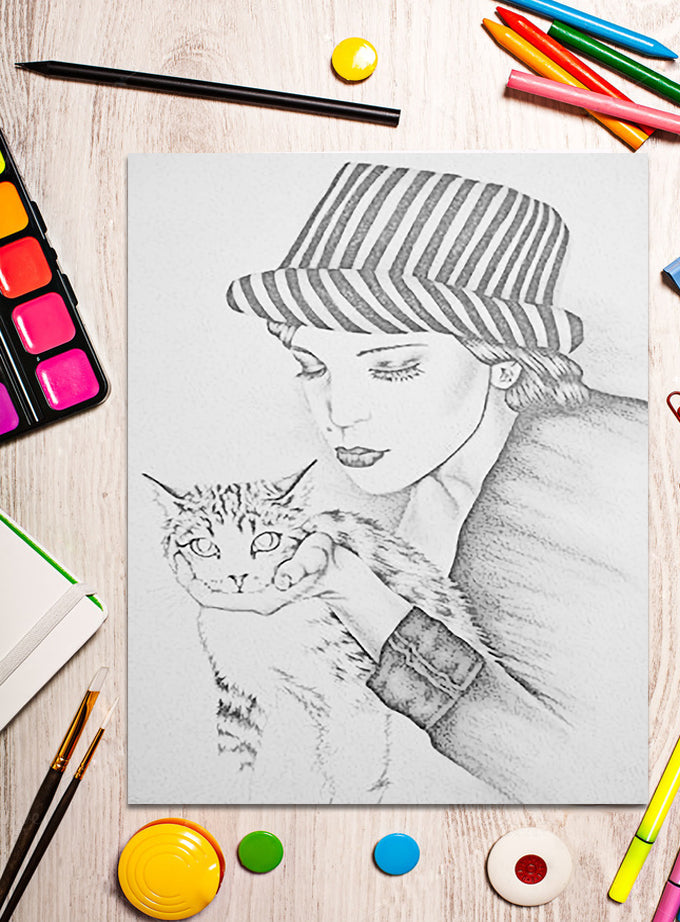 Printable Coloring Page: Girl With Cat in Grayscale