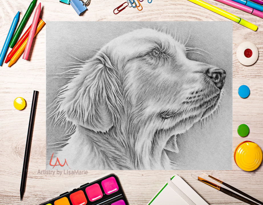 Printable Coloring Page: Golden Retriever in Grayscale