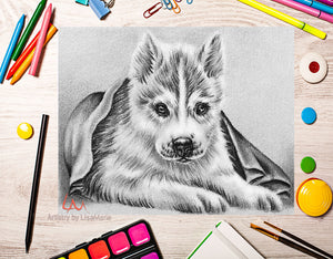 Printable Coloring Page: Husky Puppy in Grayscale, , ArtistrybyLisaMarie