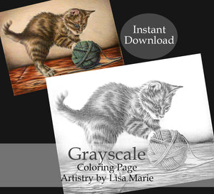 Printable Coloring Page: Kitten With Yarn in Grayscale, , ArtistrybyLisaMarie