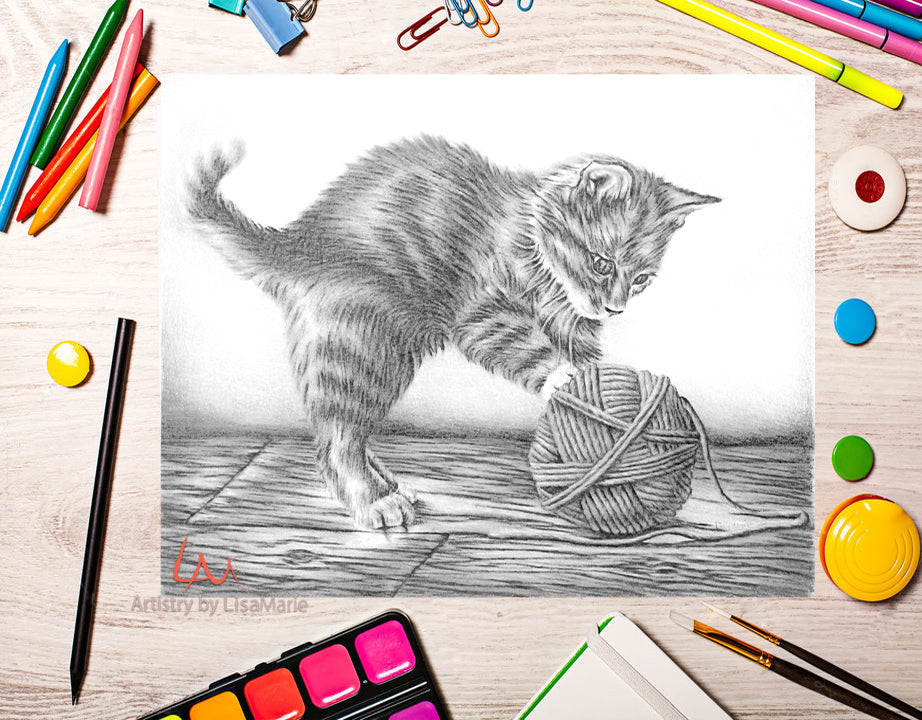 Printable Coloring Page: Kitten With Yarn in Grayscale