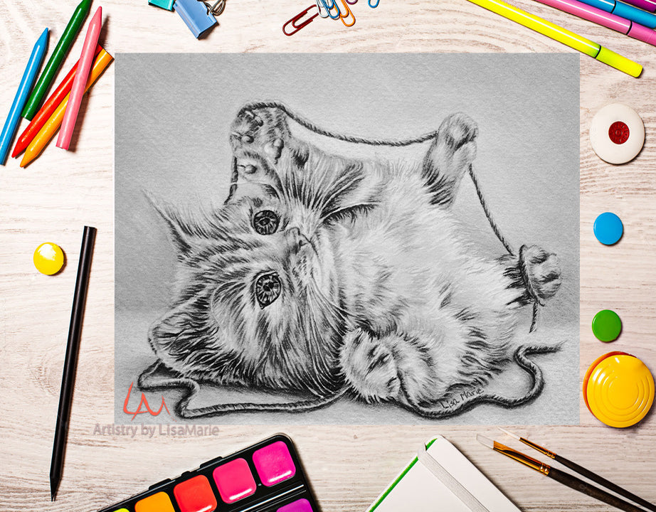 Printable Coloring Page: Kitten With String In Grayscale, , ArtistrybyLisaMarie