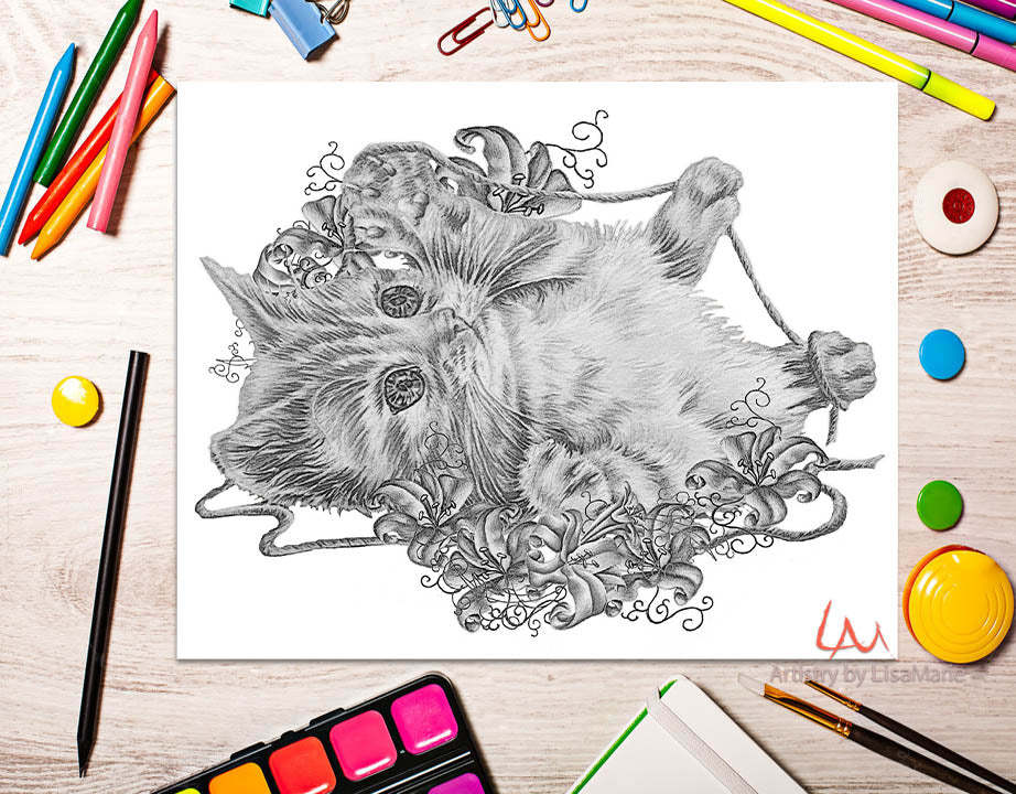 Printable Coloring Page: Kitten With Yarn and Lilies in Grayscale, , ArtistrybyLisaMarie