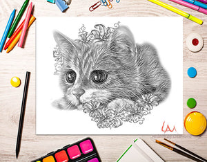 Printable Coloring Page: Kitten With Lilies in Grayscale