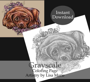 Printable Coloring Page: Labrador With Lilies in Grayscale, , ArtistrybyLisaMarie