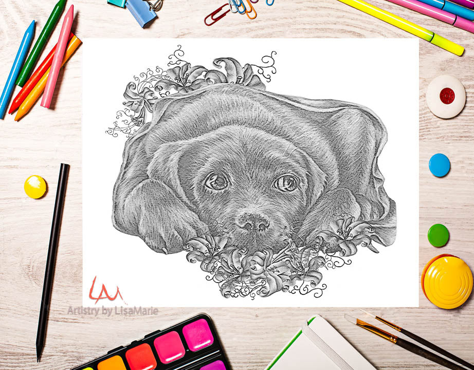 Printable Coloring Page: Labrador With Lilies in Grayscale