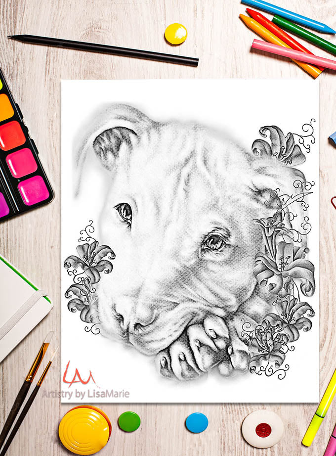 Printable Coloring Page: Pitbull and Lilies in Grayscale